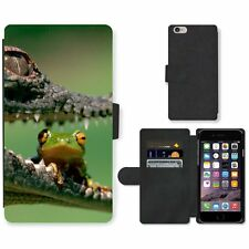 Phone Card Slot PU Leather Wallet Case For Apple iPhone Frog sits in crocodile's