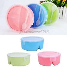 Round Microwave Lunch Box Bento Food Container w/Spoon Kitchen Tableware Multi