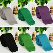Fashion Mens Narrow Tie Solid Color Knit Knitted Slim Party Formal Necktie