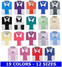 BERLIONI MENS ITALY DRESS SHIRT TWO TONE FRENCH CONVERTIBLE CUFF LONG SLEEVE NWT