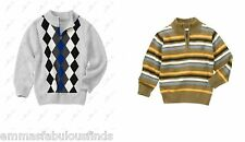 NWT Gymboree Boys  half zipper 100% cotton sweater pullover 7-8 M argyle stripe