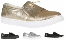 New Womens Casual Glitter Tassel Bow Front Slip On Fashion Pumps Trainer Shoes