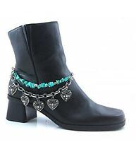Rhinestone Boot Chain Jewelry Turquoise Strap Link Chain Filagree Heart Charms