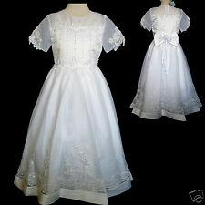 New Girl Wedding Bride maid Pageant 1st Holy Communion  Dress White 5 6 7 8 10