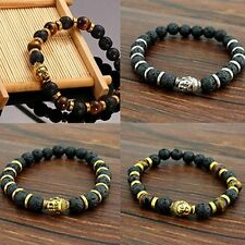 Lava Stone Charming Buddha Beaded Bangle Bracelet Rock Elastic Bracelet