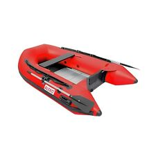 ALEKO Inflatable 8 Ft 4 Inch Red Color Pontoon Boat With Aluminum Floor