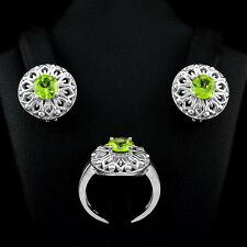 SUBLIME! NATURAL 7mm ROUND CUT GREEN PERIDOT GEMSTONE STERLING 925 SILVER SET,9#