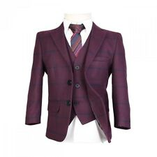 Boys Wool Mix Burgundy Check Suit Pageboy Wedding Prom Boy Winter Checkered Suit
