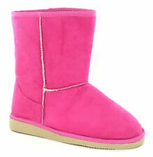SALE Ladies Pink Microfibre Warm Lined Pull On Winter Boots. Spot On X4002