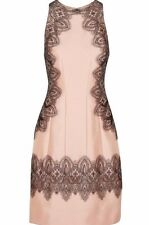 $1695 New LELA ROSE Peach Nude Pink Black Lace Embroidered Wool Silk Dress  4