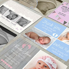 Personalised New Baby Thank You Cards  Announcement FREE Envelopes