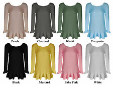 Woman Ladies Long Sleeve Knitted Frill Jumper One Sz 8-14