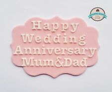 Wedding Anniversary Plaque cake topper sugar decoration edible flowers