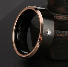 Valentine's Day Gift! 8mm Tungsten Ring Inlay Cubic Zirconia Two Tone Rose Gold