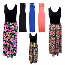 Plus Ladies Women Racer Back Long Maxi Dress Floral Printed Sleeveless Size 8-24