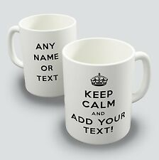 New Keep Calm and Carry On Personalised text Coffee tea Birthday Gift Mug Cup