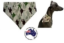 Dog Bandana S M L Army Men Camo- Slides on Collar  Pet Clothes Neck Scarf