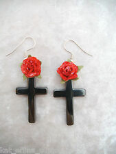 GOTHIC BLACK HEMATITE CROSS+ROSE EARRINGS...Gothic,Punk,Rockabilly,Lolita