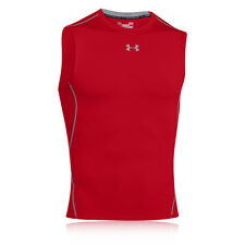 Under Armour Heat Gear Mens Red Sleeveless Running Compression Top Tee Tank