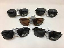 ***NEW*** MANHATTAN POLARIZED AVIATOR SUNGLASSES STAINLESS STEEL WOOD DARK LENS