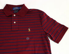 Small  NWT Polo Ralph Lauren Men's PIMA Soft touch Polo Shirt  / Burgundy Stripe