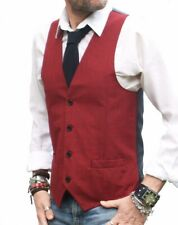 MENS RED with FINE NAVY BLUE CHECK WAISTCOAT SLIM FIT VEST - ALL SIZES