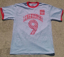 POLAND/POLSKA T SHIRT, grey/red, ROBERT LEWANDOWSKI WITH NUMBER 9, new/tag