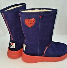 """WOMENS UGG BOOTS """"I LOVE UGG"""" BLUE WITH HEART NEW MULTI SIZES"""