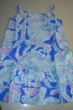New Lilly Pulitzer GIRLS ARELLA RUFFLE Cotton DRESS Bay Blue Into the Deep L