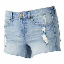 Juniors MUDD Destructed Cuttoff Midi Shorts Jeans Destroyed Short Size 3 7 9 NWT