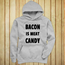 BACON IS MEAT CANDY BREAKFAST FUNNY HUMOR FOOD Womens Gray Hoodie