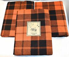 WB Orange Orange Black Halloween Tartan Plaid Check Cotton Fabric Tablecloth