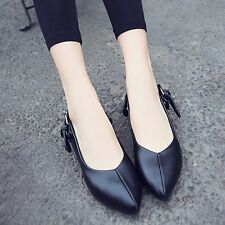 Womens Leather Slip-on Ballet Flats Ballerinas Pointed Toe Casual Solid Shoes