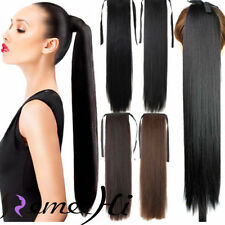 """16""""-24"""" Long Straight High Ponytail Clip-in 100% Soft Human Hair Extensions 100g"""