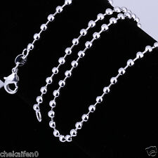 """Wholesale16""""-24""""925 Sterling Silver Plated 2mm /2.4mm Ball Bead Chain Necklace"""