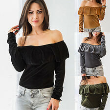 WOMEN'S OFF SHOULDER BOAT NECK RUFFLED LONG SLEEVE SEXY T-SHIRT BLOUSE ELEGANT