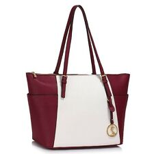 Faux Leather Tote Bag With Bag Charm