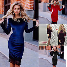 Elegant Women Long Sleeve Bodycon Package Hip Lace Stitching Mini Dress Fashion
