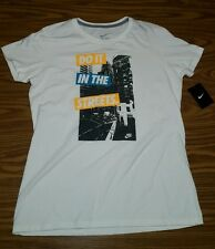 "NWT Nike Women's ""Do It In The Streets"" White Crewneck Graphic T-Shirt SLIM FIT"