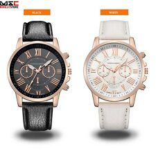 Fashion New Women Leather Band Analog Quartz Watch Stainless Steel Wrist Watches