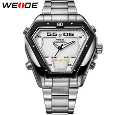 Weide Men Triangle Shape LED Digital Date Day Sports Big Dial Quartz Wrist Watch