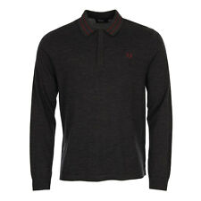 New Mens Fred Perry  Polo Shirt - Knitted Charcoal Marl  Long sleeve  Polo neck