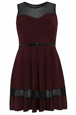 Womens Plus Size Plum Skater Dress With Mesh Panels & Waist Belt
