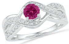 Created Pink Sapphire 5/8 Carat and 1/10 TCW Diamond Ring 10k White Gold