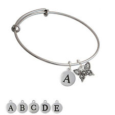 Small Antiqued Crystal Butterfly Silver Plated Bangle Bracelet, Select Initial