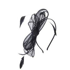 Black Linen Bow Style Ladies Fascinator Ideal For Events