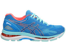 NEW WOMENS ASICS GEL-NIMBUS 19 RUNNING SHOES TRAINERS DIVA BLUE / FLASH D-WIDE