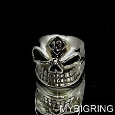 STERLING SILVER MENS BIKER RING WINKING GNOME SKULL LUCKY NUMBER 13 ANY SIZE