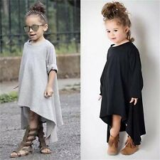 2-6Y Baby Kids Girls Autumn Clothes Long Sleeve Cotton Party Tops T-Shirt Dress