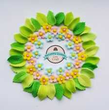 flowers spring mix cake topper sugar decoration blue pink yellow edible leaves